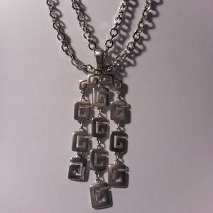 Trifari Silver Tone Modernist Pendant Necklace